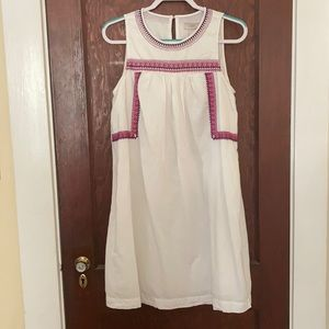 White Cotton Loft Dress with Purple Embroidery